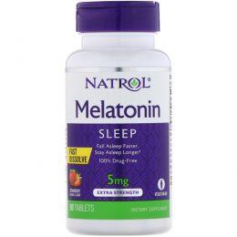 Natrol, Мелатонин, быстрорастворимый, клубника, 5 мг, 90 таблеток
