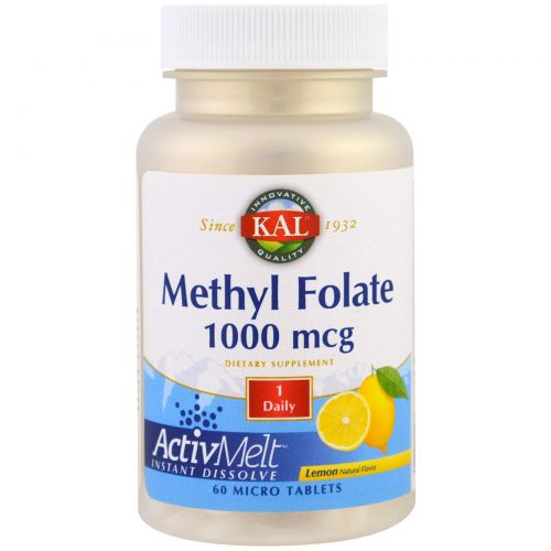 KAL, Methyl Folate, Lemon, 1000 mcg, 60 Micro Tablets
