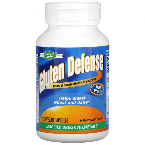 Enzymatic Therapy, Gluten Defense, целевые пищеварительные ферменты, 120 капсул в растительной оболочке