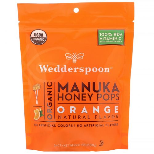 Wedderspoon, Леденцы из органического меда манука для детей, апельсин, 24 шт., 4,15 унц. (130 г)