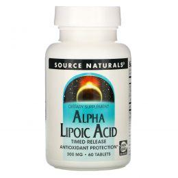Source Naturals, Альфа-липоевая кислота, ограниченный выпуск, 300 мг, 60 таблеток