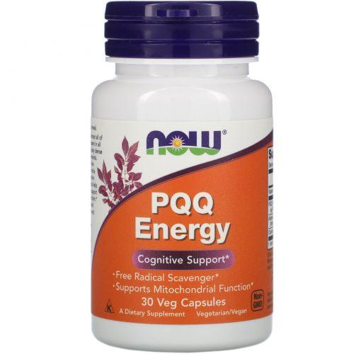 Now Foods, PQQ энергия, пирролохинолинхинон, метоксантин, 30 капсул