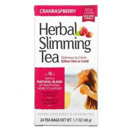 21st Century, Травяной чай для похудения, клюква и малина, без кофеина, 24 чайных пакетика, 1,6 унции (45 г)