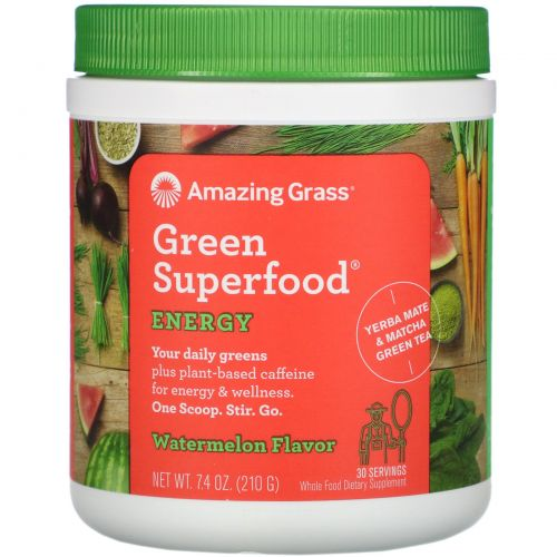 Amazing Grass, Green Superfood, Энергия, Арбуз, 7,4 унции (210 г)