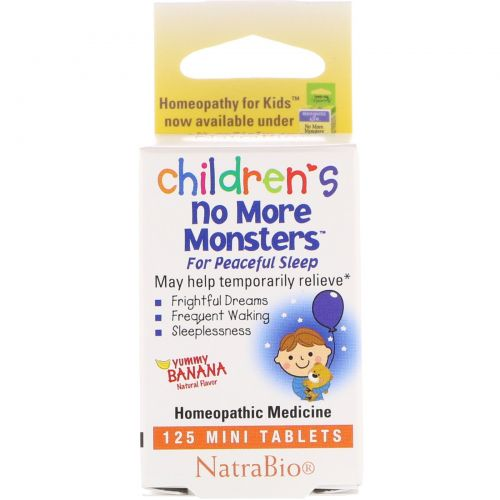 NatraBio, Снотворное для детей Children's No More Monsters, со вкусом банана, 125мини-таблеток