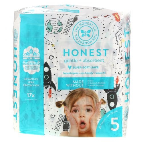 The Honest Company, Honest Diapers, Size 5,  27+ Pounds, Space Travel, 20 Diapers