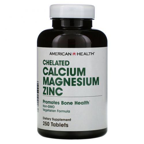 American Health, Хелатный кальций, магний и цинк, 250 таблеток