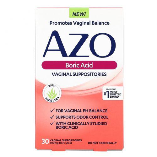 Azo, Boric Acid, Vaginal Supositories, 600 mg, 30 Suppositories