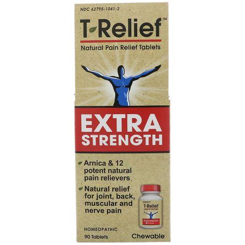 MediNatura, T-Relief, экстра сила, гомеопатическое средство, натурыльные болеутоляющие таблетки, 90 жевательных таблеток