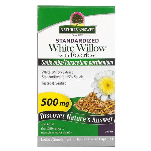 Nature's Answer, Белая ива с пиретрумом, 500 мг, 60 растительных капсул