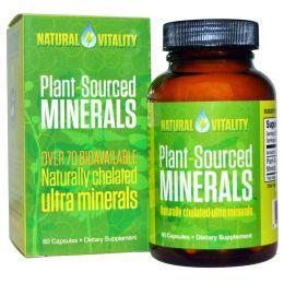 Natural Vitality, Растительные минералы Plant-Sourced Minerals, 60 капсул