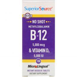 Superior Source, Метилкобаламин B-12 и витамин D3, 5,000 мкг / 5,000 МЕ, 100 микролингвальных быстрорастворимых таблеток