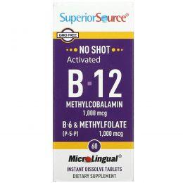 Superior Source, Активированный B-12 метилкобаламин, B-6 (пиридоксин) и метилфолат, 1,000 мкг / 1,000 мкг, 60 микролингвальных быстрорастворимых таблеток