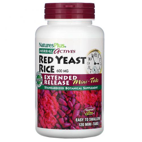 Nature's Plus, Herbal Actives, Красный дрожжевой рис, 600 мг, 120 мини-таблеток