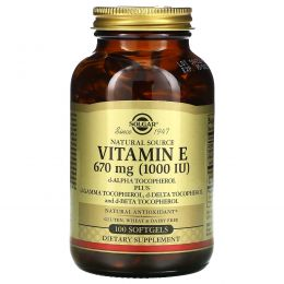 Solgar, Натуральный витамин E, 1000МЕ, 100 мягких капсул