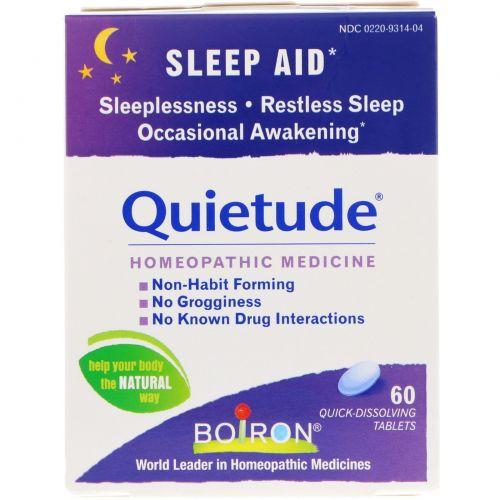 Boiron, Quietude, помощь сну, 60 быстрорастворимых таблеток