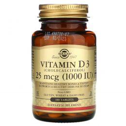 Solgar, Витамин D3, 1000 МЕ, 180 таблеток