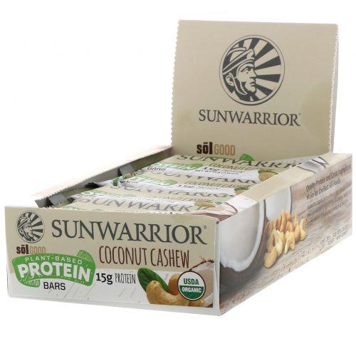 Sunwarrior, Sol Good, протеиновые батончики на растительной основе, кокос и кешью, 12батончиков, 60г (2,11унции) каждый