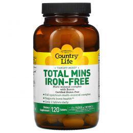 Country Life, Total Mins без железа, мультиминеральный комплекс с бором, 120 таблеток