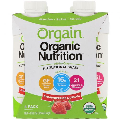 Orgain, Organic Nutrition, All In One Nutritional Shake, Strawberries & Cream, 4 Pack, 11 fl oz Each