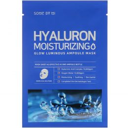 Some By Mi, Glow Luminous Ampoule Mask, Hyaluron Moisturizing, 10 Sheets, 25 g Each