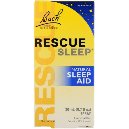 Bach, Rescue Sleep, природный помощник для сна, 0.7 жидких унций (20 мл) спрей