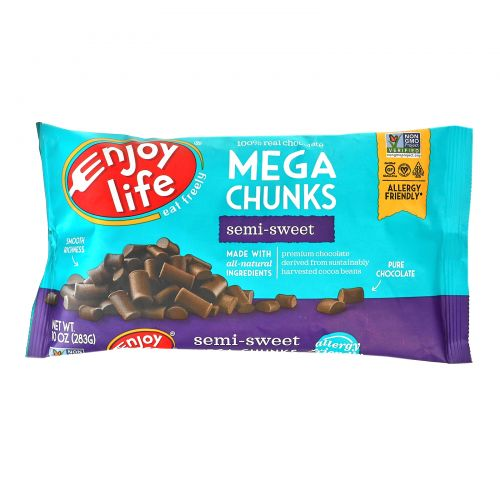 Enjoy Life Foods, Mega Chunks, Полусладкий шоколад, 10 унций (283 г)