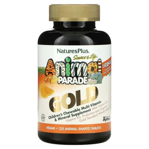 Nature's Plus, Источник жизни, Золотое шествие животных, Жевательный комплекс мультивитаминов и минералов для детей с натуральным вкусом апельсина, 120 животных