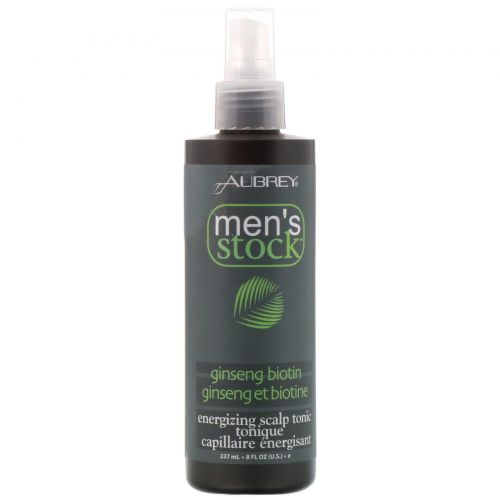 Aubrey Organics, Men's stock, энергетический тоник для кожи головы, с женьшенем и биотином, 8 жидких унций (237 мл)