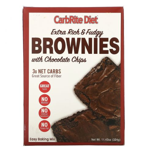 Universal Nutrition, CarbRite Diet, Extra Rich & Fudgy Brownies with Chocolate Chips, Maltitol-Free, 11.43 oz (324 g)