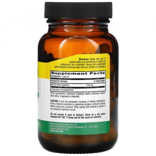 Country Life, NAC, N-ацетилцистеин, 750 мг, 60 вегетарианских капсул