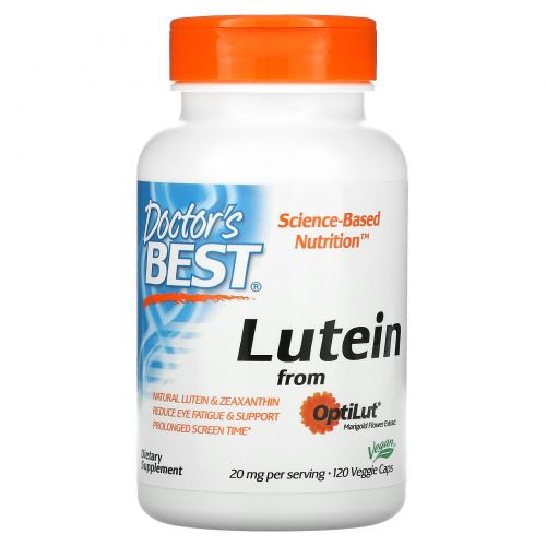 Doctor's Best, Lutein with OptiLut, 10 мг, 120 вегетарианских капсул