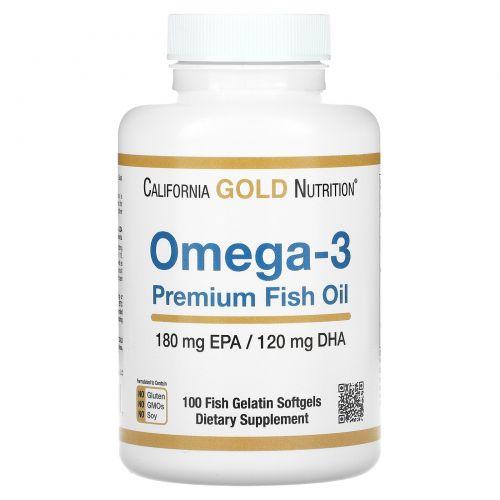 Madre Labs, Рыбий жир Омега-3 премиум-класса, без ГМО, без глютена, 100 капсул из рыбьего желатина
