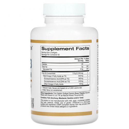 California Gold Nutrition, Омега-3, рыбий жир высшего качества, 100 желатиновых капсул с рыбьим жиром