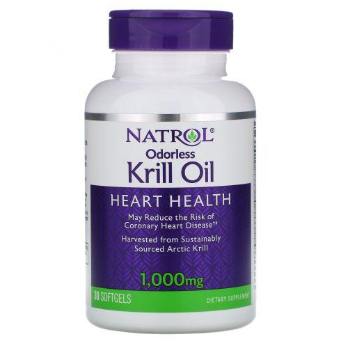 Natrol, Жир криля без запаха, 1000 мг, 30 мягких желатиновых капсул