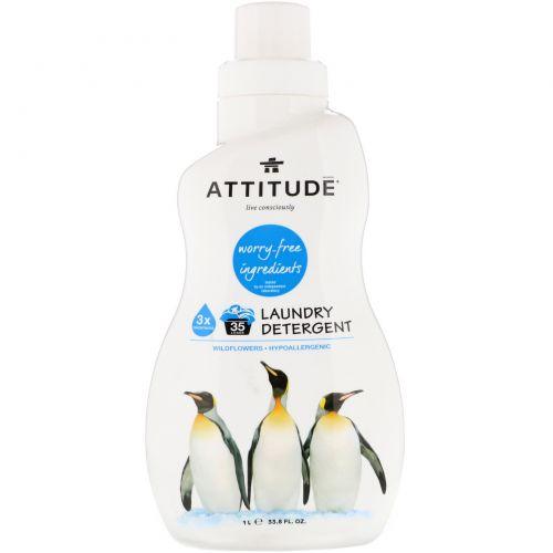 ATTITUDE, Laundry Detergent, Wildflowers, 33.8 fl oz (1 l)