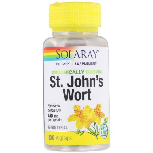 Solaray, Органически выращенный зверобой, 450 мг, 100 капсул с оболочкой из ингредиентов растительного происхождения