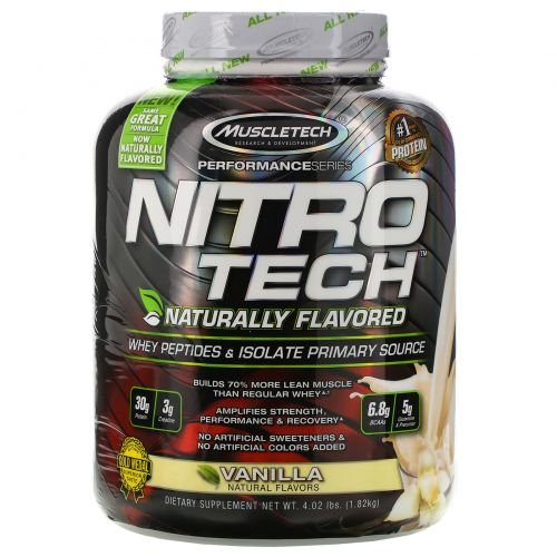 Muscletech, Nitro Tech, Naturally Flavored, Whey Peptides & Isolate Primary Source, Vanilla, 4.02 lbs (1.82 kg)