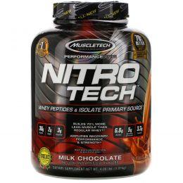 Muscletech, NitroTech, основной источник сывороточного изолята и пептидов, молочный шоколад, 4,00 фунта (1,81 кг)