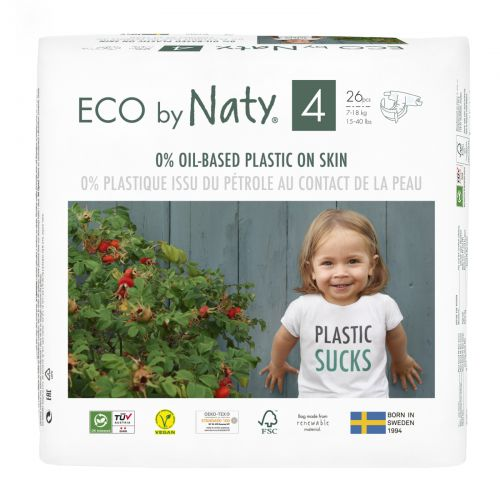 Naty, Diapers for Sensitive Skin, Size 4, 15-40 lbs (7-18 kg), 26 Diapers