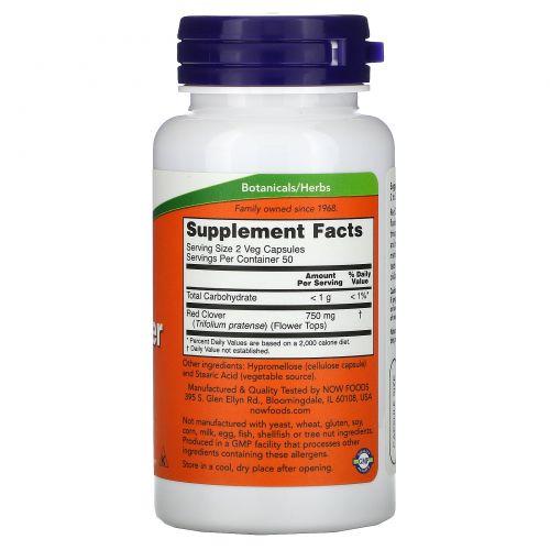 Now Foods, Красный клевер, 375 мг, 100 капсул