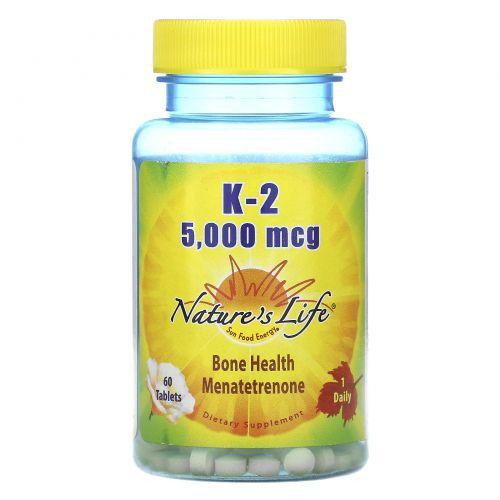 Nature's Life, K-2, менатетренон, 5 000 мкг, 60 таблеток