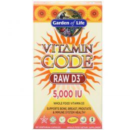 Garden of Life, Garden of Life, витаминный код , RAW D3, 5,000 МЕ, 60 вегетарианских капсул