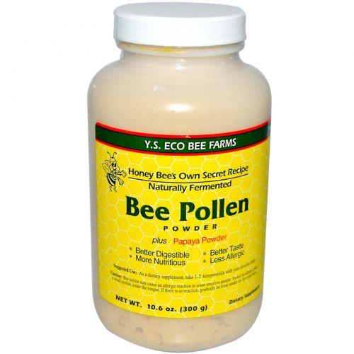 Y.S. Eco Bee Farms, Порошок из пчелиной пыльцы и папайи, 10,6 унций (300 г)