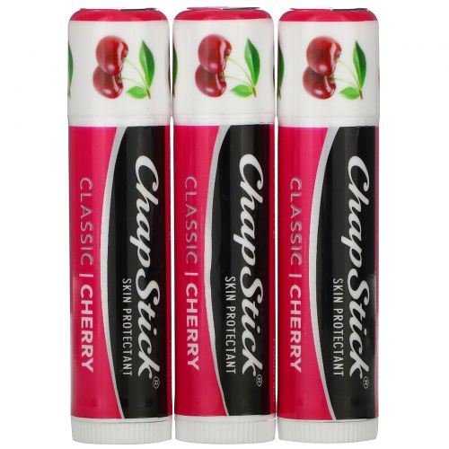 Chapstick, Защитный бальзам для губ, «Классическая вишня», 4 г каждый