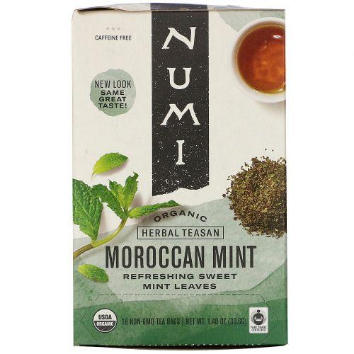 Numi Tea, Органический травяной чай Teasan, без кофеина, марокканская мята, 18 пакетиков, 1,40 унции (39,6 г)