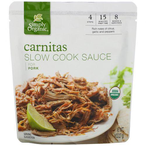 Simply Organic, Органический соус для приготовления свинины по-мексикански (карнитас), 227г