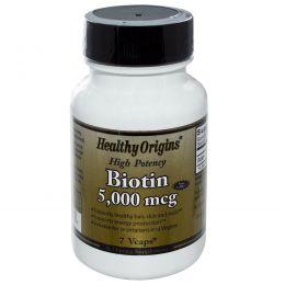Special, Healthy Origins, биотин, высокая эффективность, 5000 мкг, 7 растительных капсул