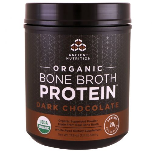 Ancient Nutrition, Organic Bone Broth Protein, Dark Chocolate, 17.8 oz (504 g)