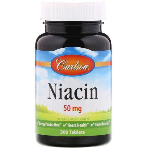Carlson Labs, Ниацин, 50 мг, 300 таблеток